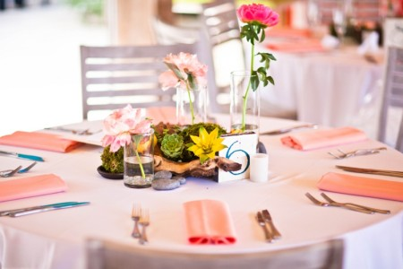 coral wedding table