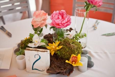 coral beach themed wedding table