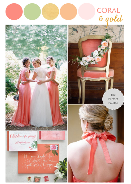coral and gold color palette for weddings