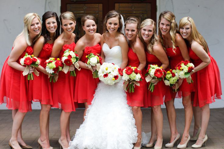 weddings with red bridesmaid dresses