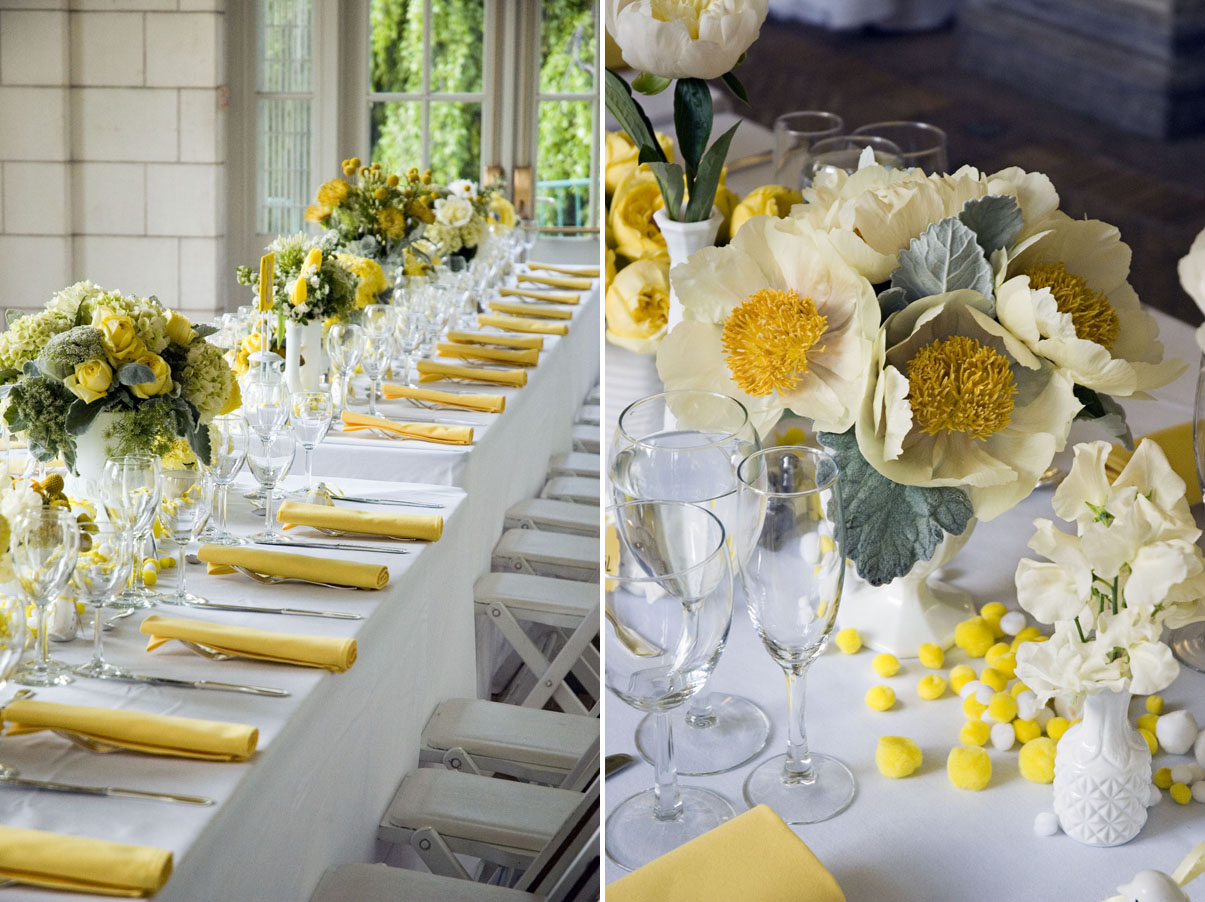 Wedding colors yellow marrying later in life for Decoration de table