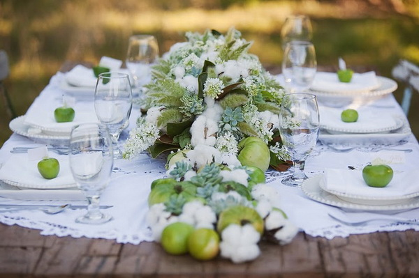 Green table decorations design decoration green wedding table junglespirit Gallery