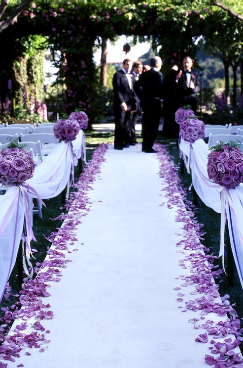 Wedding colors purple marrying later in life purple flowers down the aisle junglespirit Images