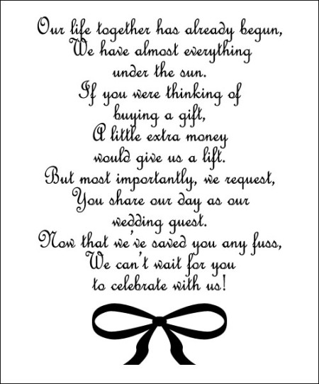 Wedding Invitation Gift Registry Wording: For The Couple Who Has Everything