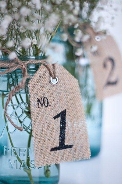 burlap table number idea