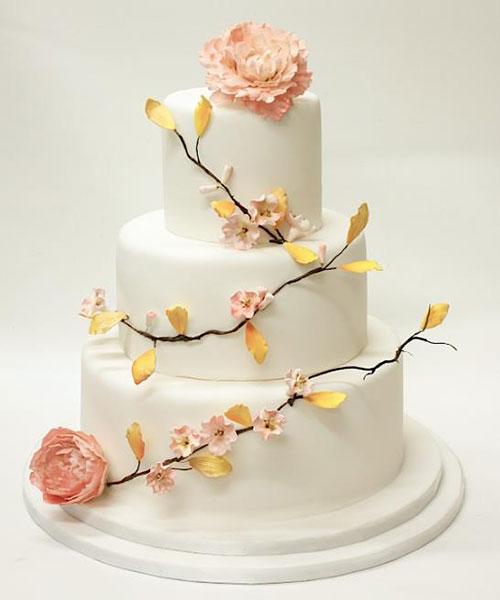 Peach Colored Birthday Cake