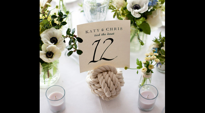 Creative Reception Table Numbers and Escort Cards