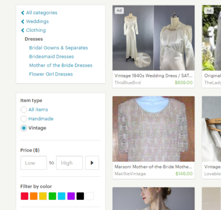 buying a vintage wedding dress on etsy
